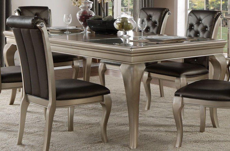 Crawford 6 Piece Rectangle Dining Sets Inside Widely Used Homelegance Crawford Silver Extendable Dining Table – Crawford (View 7 of 20)