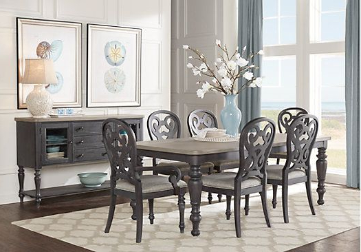 Crawford 6 Piece Rectangle Dining Sets With Regard To Newest Cindy Crawford Home Coastal Breeze Charcoal 5 Pc Rectangle Dining (View 9 of 20)