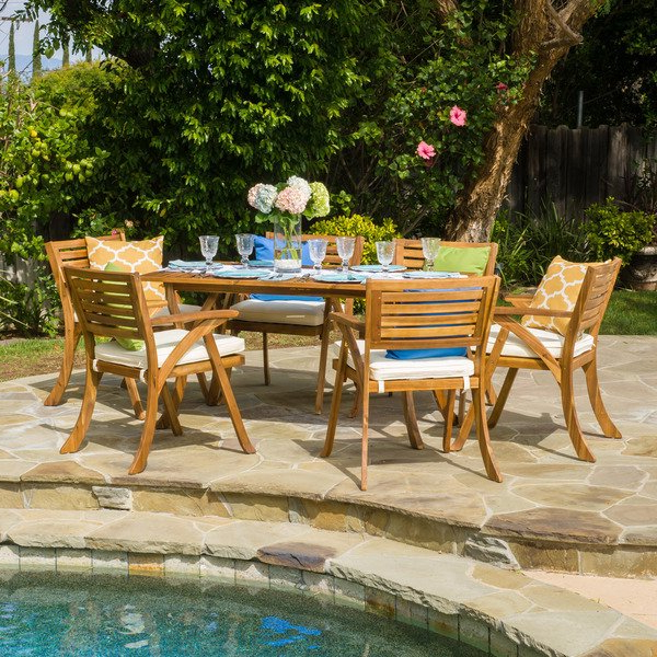 Crawford 7 Piece Rectangle Dining Sets For 2018 Shop Hermosa Outdoor Acacia Wood 7 Piece Rectangle Dining Set With (View 18 of 20)