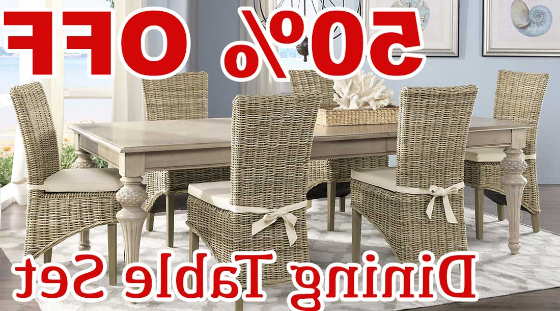 Crawford 7 Piece Rectangle Dining Sets With Regard To Fashionable 50 Percent Off Discount Cindy Crawford Home Key West Sand 5 Pc (View 9 of 20)