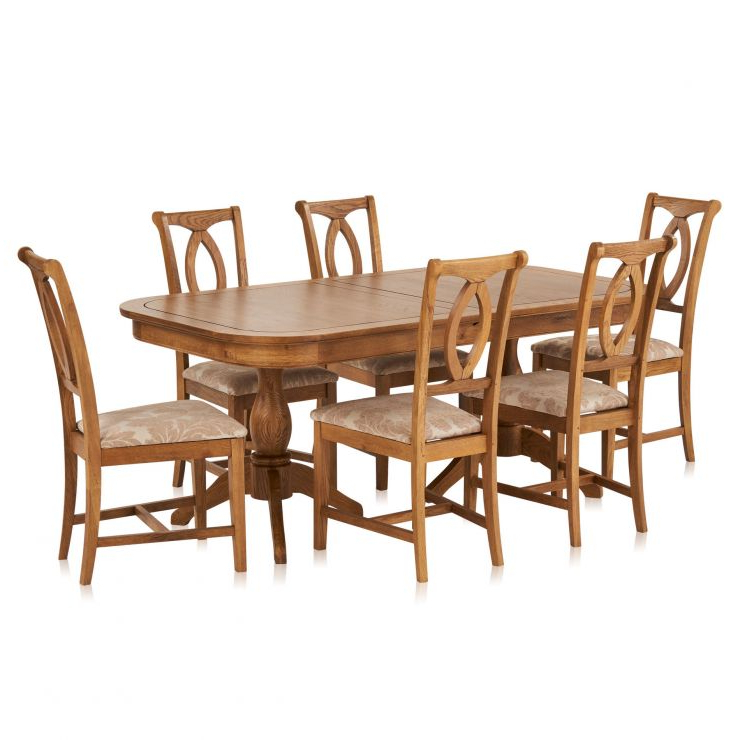 Crawford Extendable Dining Table And 6 Beige Chairs (View 12 of 20)