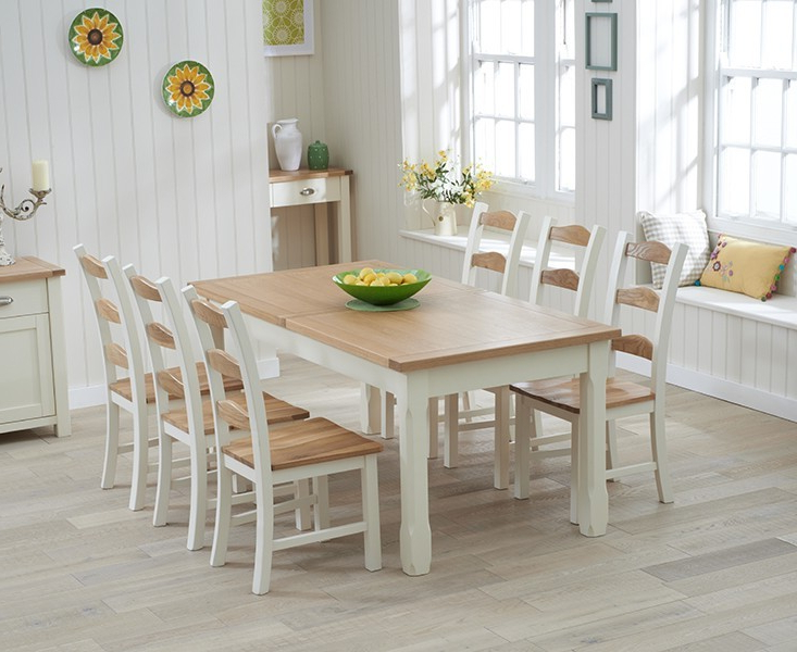 Cream And Oak Dining Tables In Favorite Sandringham 180Cm Oak & Cream Extending Dining Table – Swagger Inc (View 3 of 20)