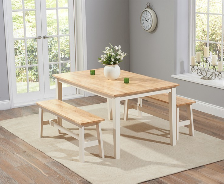 Cream And Oak Dining Tables Inside Most Current Chichester 150Cm Oak & Cream Dining Table With 2 Large Benches (Gallery 5 of 20)