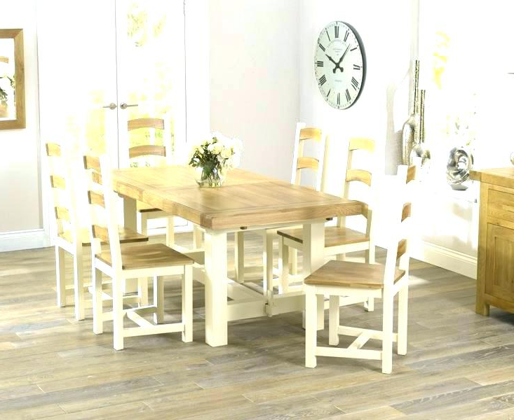 Cream And Oak Dining Tables Pertaining To Favorite Painted Oak Dining Table And Chairs Cream Room Set Magnificent (View 19 of 20)