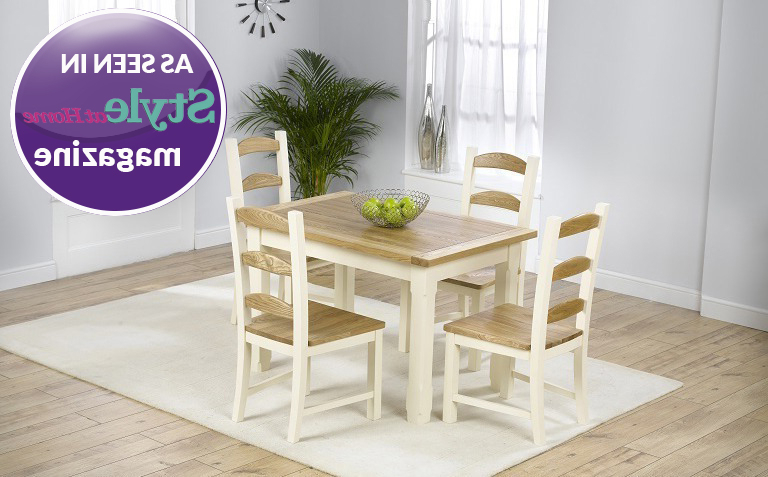Cream And Oak Dining Tables Pertaining To Most Up To Date Painted Dining Table Sets (View 20 of 20)