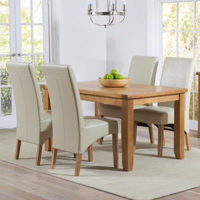 Cream And Wood Dining Tables In Latest Yorkshire Solid Oak 140cm Dining Table With 4 Rome Cream Chairs (View 16 of 20)