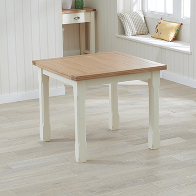 Cream And Wood Dining Tables Pertaining To Well Liked Sandiego Oak And Cream 90Cm Extending Dining Table – Robson Furniture (View 5 of 20)