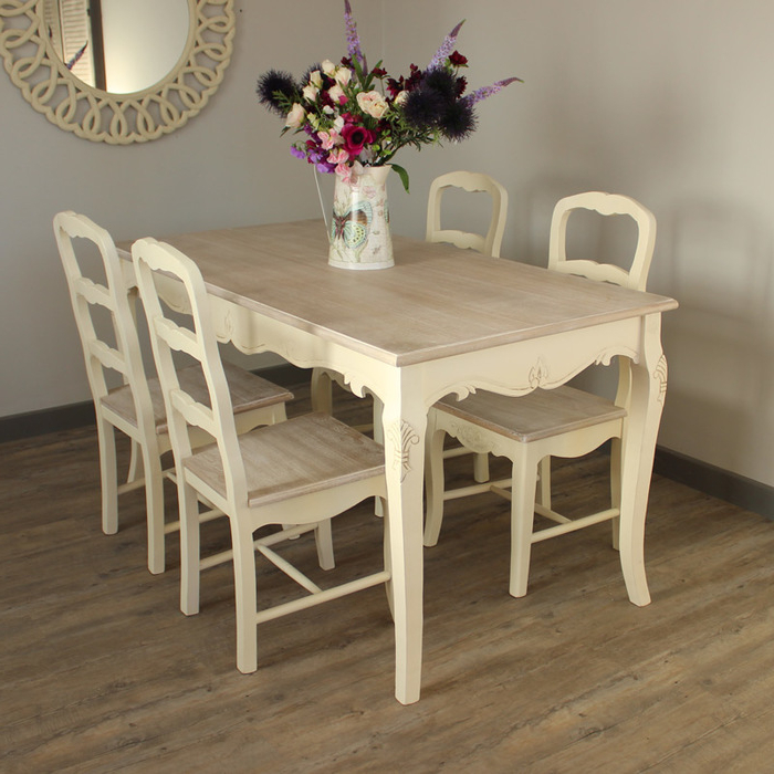 Cream Dining Tables And Chairs For Latest  (View 3 of 20)