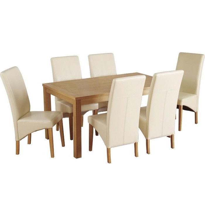 Cream Faux Leather Dining Chairs Regarding Well Known Belgravia Dining Table With 6 Cream Leather Chairs (View 16 of 20)