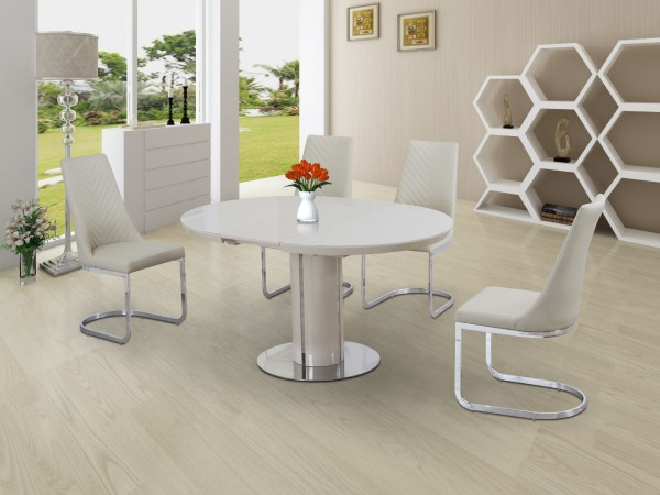 Cream Gloss Dining Tables And Chairs For Fashionable Buy Annular Cream High Gloss Extending Dining Table (View 3 of 20)