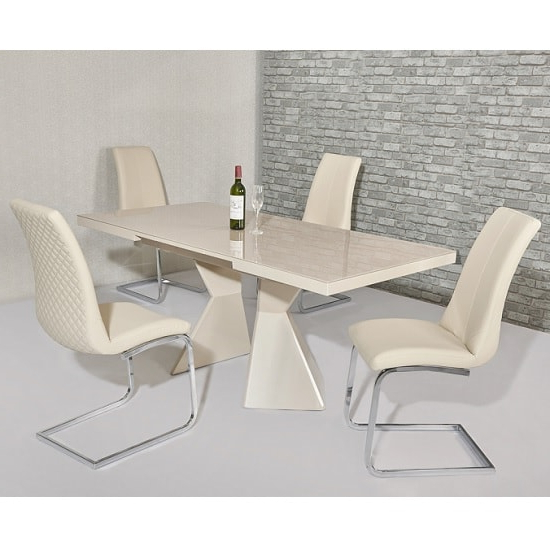 Cream Gloss Dining Tables And Chairs In Best And Newest Zeta Extendable Glass Dining Set In Cream Gloss 6 Orly (View 13 of 20)