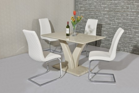 Cream High Gloss Dining Tables Pertaining To Famous Wow Slim High Gloss Cream120 Cm Dining Table (Gallery 18 of 20)