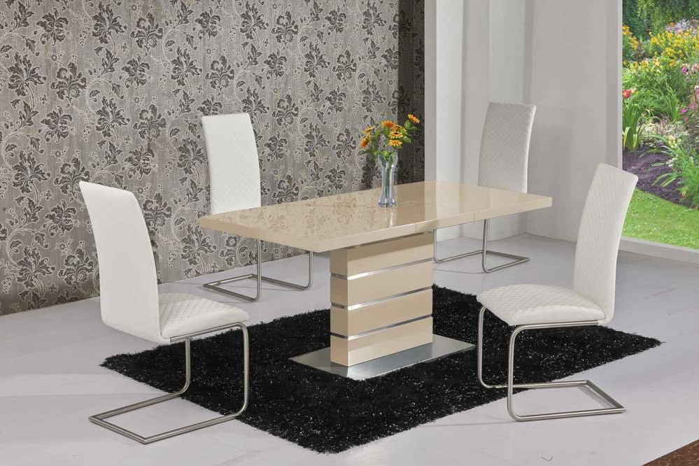 Cream High Gloss Dining Tables Throughout Most Recently Released Extending Cream High Gloss Dining Table And 6 White Chairs (View 8 of 20)