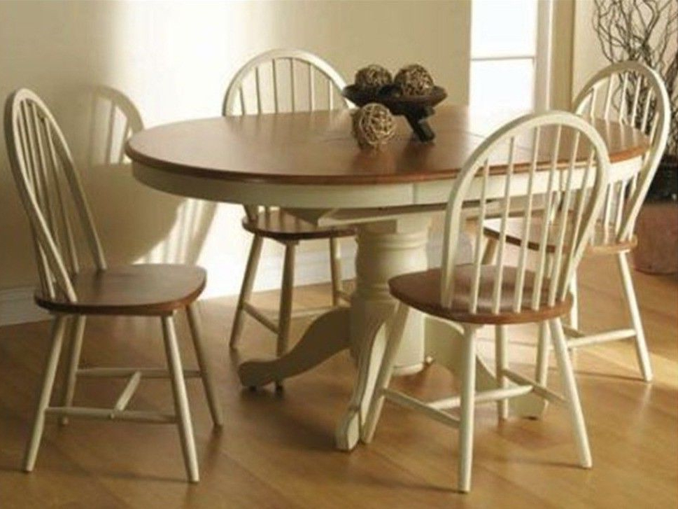 Cream Oak Extendable Dining Table And 4 Chairs Set (View 5 of 20)