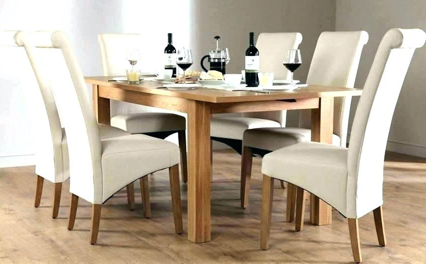 Cream Wood Extending Dining Table Small And Oak With Dark Top Set Intended For Most Recent Oak Extending Dining Tables And Chairs (View 1 of 20)