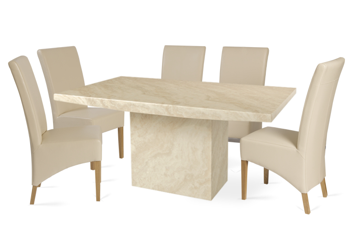 Crema 180Cm Marble Effect Dining Table With 6 Cannes Cream Chairs Intended For Most Current Marble Effect Dining Tables And Chairs (View 3 of 20)