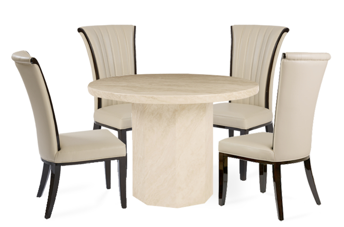 Crema Round Marble Effect Dining Table With 4 Alpine Cream Chairs Intended For Popular Marble Dining Chairs (View 1 of 20)
