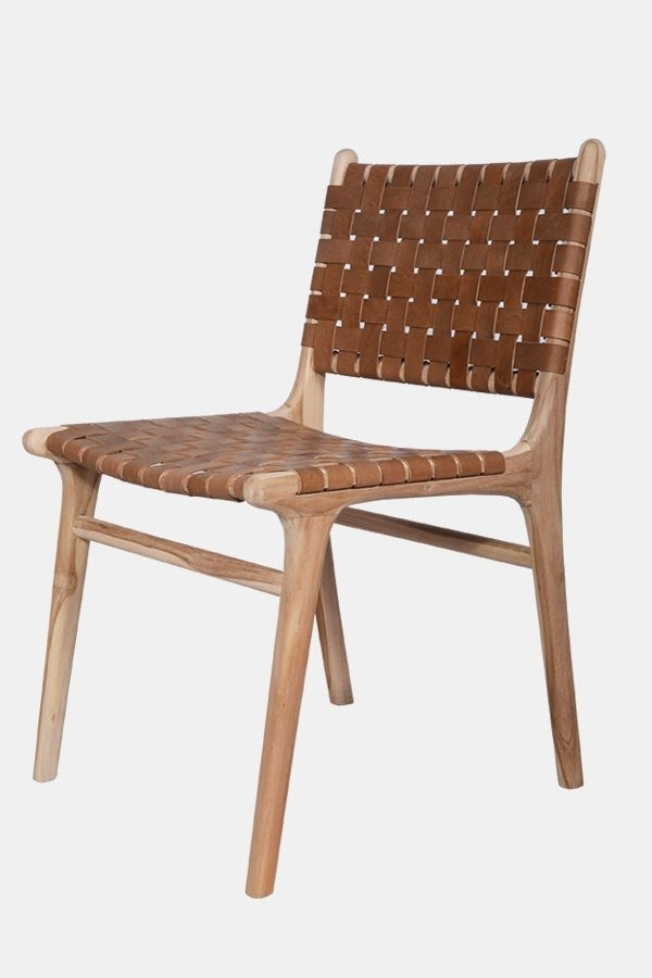 Criss Cross Dining Chair – Teak & Tan Fenton & Fenton Furniture Intended For Latest Natural Brown Teak Wood Leather Dining Chairs (View 9 of 20)