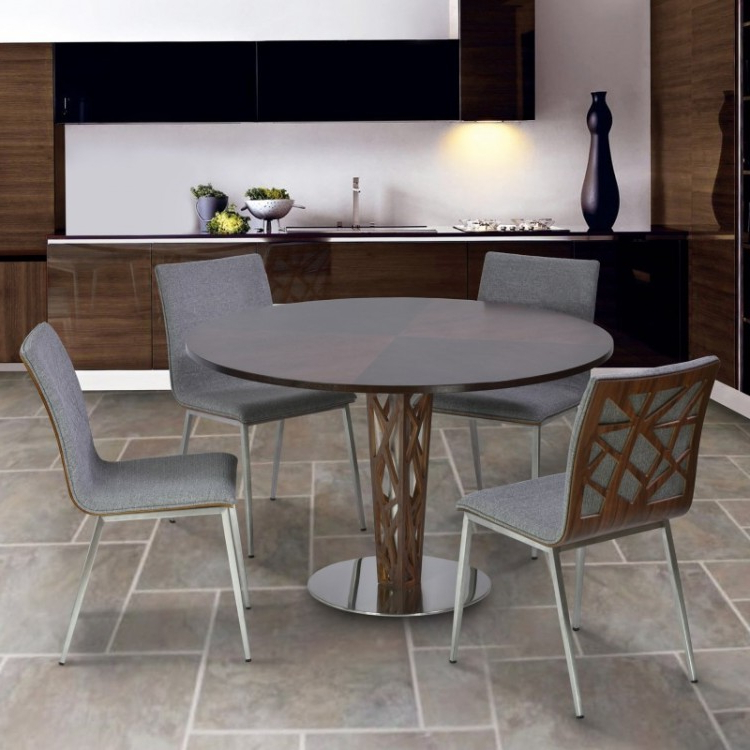 "Crystal 48"" Round Dining Table In Walnut Veneer Column And Brushed Throughout Well Known Crystal Dining Tables (Gallery 19 of 20)"