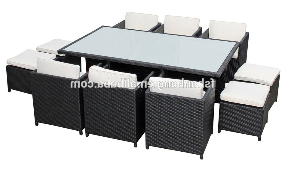 Cube Dining Tables With 2018 Outdoor Wicker Patio Rattan Cube Garden 11 Piece Dining Table And (View 13 of 20)