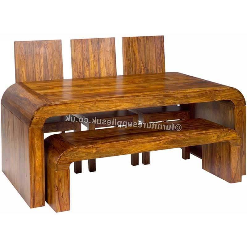 Cube Opium Dining Table With 2 Benches (Gallery 6 of 20)