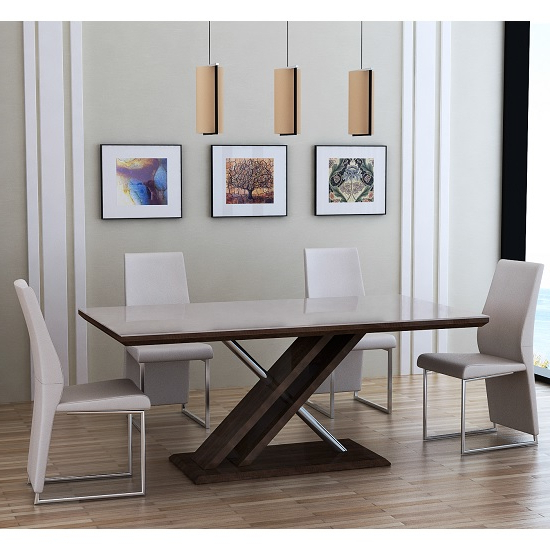 Cubic Dining Table In Beige Glass Top With 6 Crystal Chairs Throughout Popular Crystal Dining Tables (View 5 of 20)
