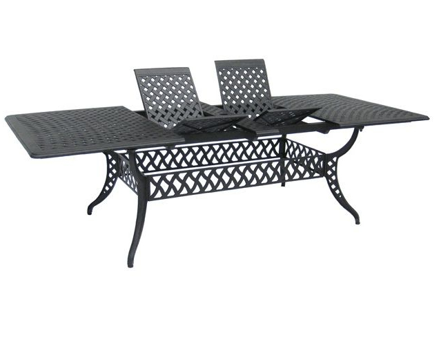 "Current 102"" Cast Aluminum Extendable Dining Table (View 6 of 20)"