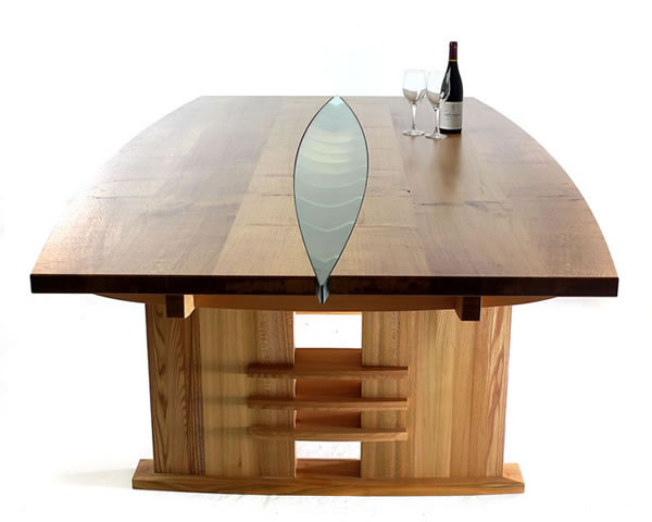 Current 3. Dining Table In Oak, Elm And Douglas Fir With Glass Inser For Glass Oak Dining Tables (Gallery 17 of 20)