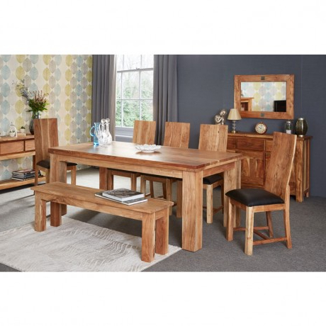 Current Acacia Dining Table – Large With 6 Chairs – Verty Indian Furniture In Indian Dining Tables (View 19 of 20)