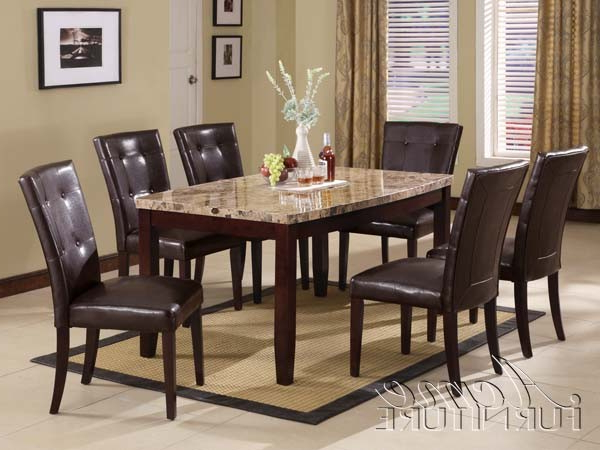 Current Acme Furniture Granada Brown Marble Top Dining Table Set 07005 Pertaining To Marble Dining Tables Sets (View 8 of 20)