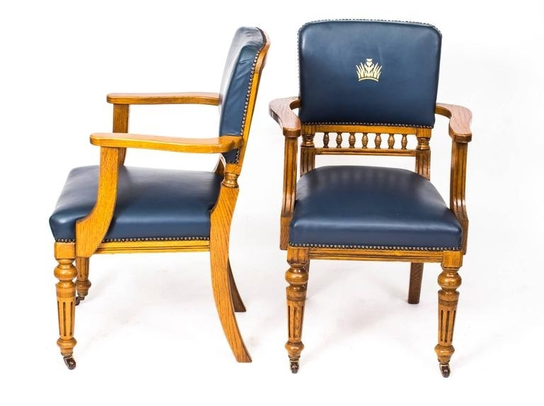 Current Antique Set Of 12 Scottish Oak Leather Upholstered Dining Chairs Inside Craftsman Upholstered Side Chairs (View 13 of 20)