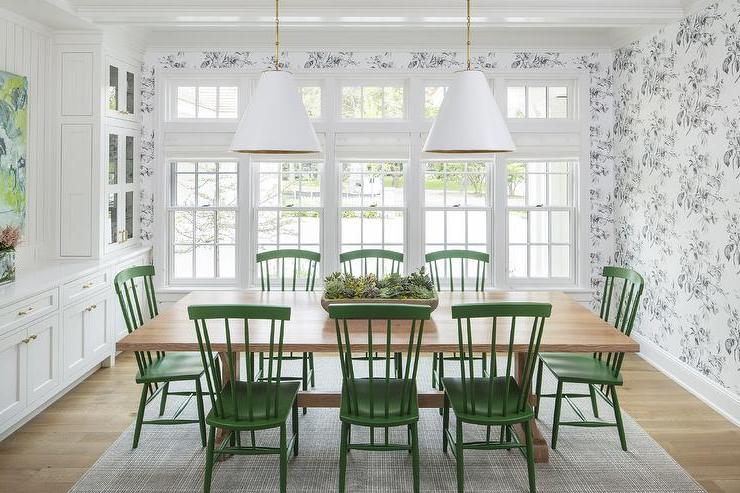 Current Blond Wood Table With Emerald Green Windsor Dining Chairs Intended For Green Dining Tables (View 8 of 20)