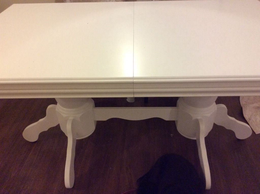 Current Brand New White Extending Chatsworth Dining Table In White (View 2 of 20)