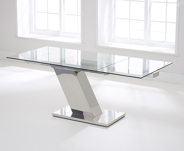 Current Buy Mark Harris Lamont Glass Rectangular Extending Dining Table With Glass Extending Dining Tables (View 8 of 20)
