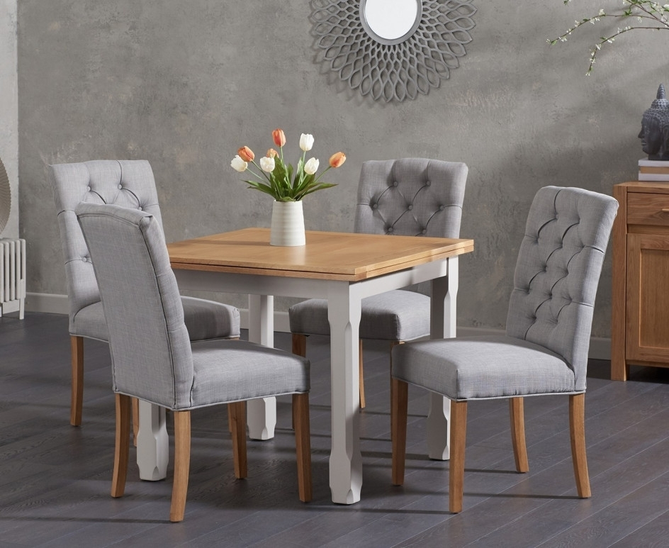 Current Candice Ii Extension Rectangle Dining Tables Within Somerset 90cm Flip Top Oak And Grey Dining Table With Candice Grey (View 17 of 20)