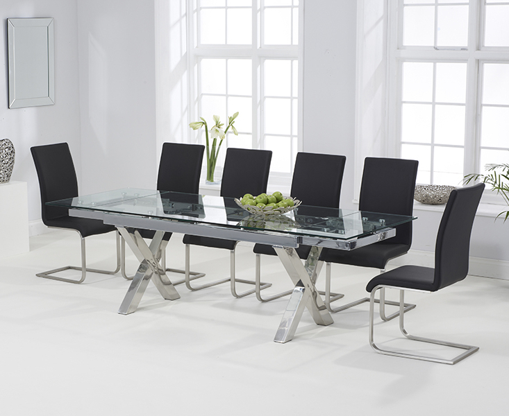 Current Celeste 160Cm Extending Glass Dining Table With Malaga Chairs For Extendable Glass Dining Tables And 6 Chairs (Gallery 13 of 20)
