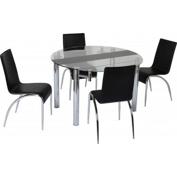 Current Cheap Seconique Chloe Extending Black / Clear Glass Small Dining Throughout Cheap Dining Tables (View 11 of 20)