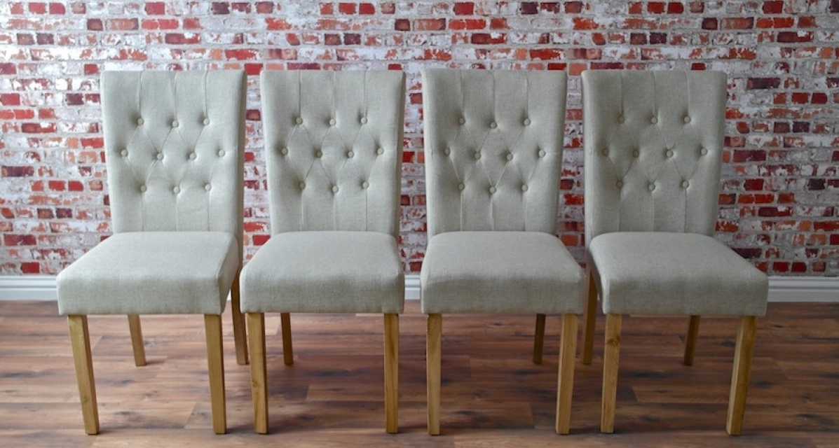 Current Chesterfield Dining Chair With Stone Upholstery Button Back Oak Regarding Button Back Dining Chairs (View 9 of 20)