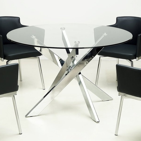 Current Chrome Dining Sets Inside Shop Somette Round Glass Top Chrome Dining Table – Free Shipping (View 7 of 20)