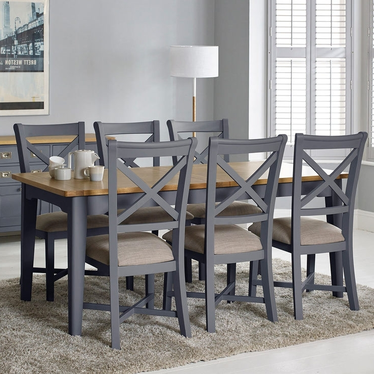 Current Combs Extension Dining Tables Pertaining To Bordeaux Painted Taupe Large Extending Dining Table + 6 Chairs (View 8 of 20)