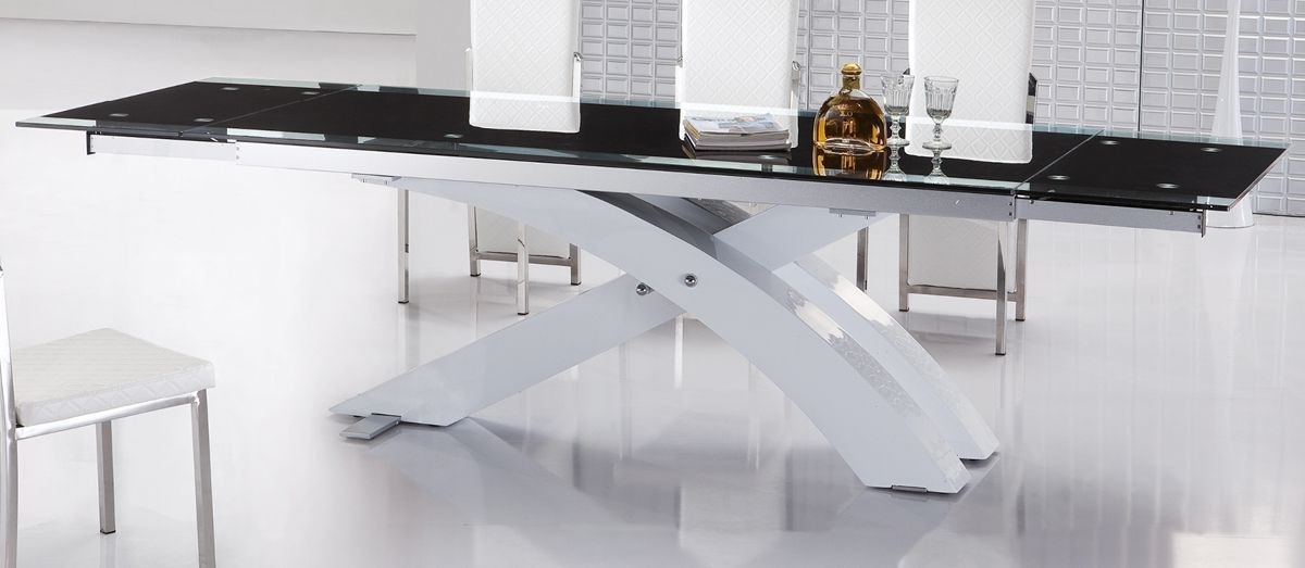 Current Contemporary Extendable Dining Table With Glass Top And Metal Base Pertaining To Contemporary Base Dining Tables (View 5 of 20)