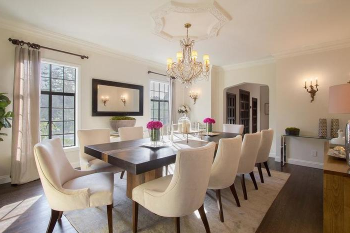 Current Cream Dining Tables And Chairs With Regard To 3. Black Dining Table With Cream Upholstered Dining Chairs (Gallery 12 of 20)