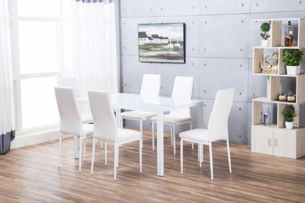 Current Designer Rectangle White Dining Table & 6 Chairs Set (View 15 of 20)