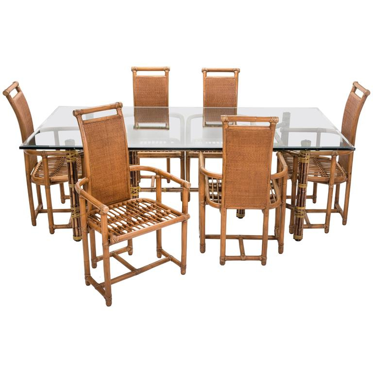 Current Dining Table Chair Sets With Regard To Mid Century Mcguire Bamboo Dining Table Chairs Set For Sale At 1Stdibs (View 4 of 20)