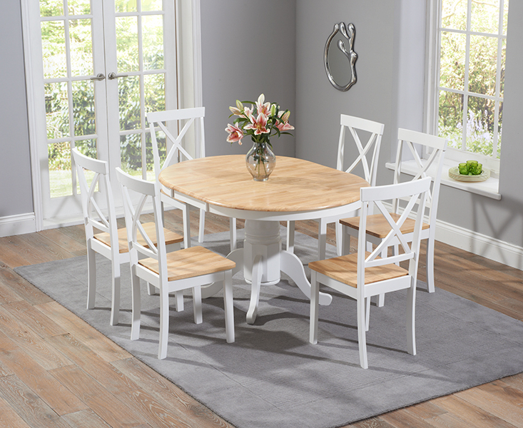 Current Epsom Oak And White Pedestal Extending Dining Table Set With Chairs With Oak Extending Dining Tables Sets (View 4 of 20)