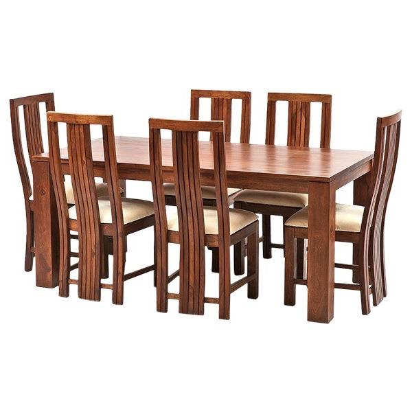 Current Ethnic India Art Madrid 6 Seater Sheesham Wood Dining Set With Table Intended For Sheesham Dining Tables And 4 Chairs (View 3 of 20)