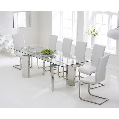 Current Extendable Glass Dining Tables And 6 Chairs With Regard To Found It At Wayfair.co.uk – Aurora Extendable Dining Table And 6 (Gallery 4 of 20)