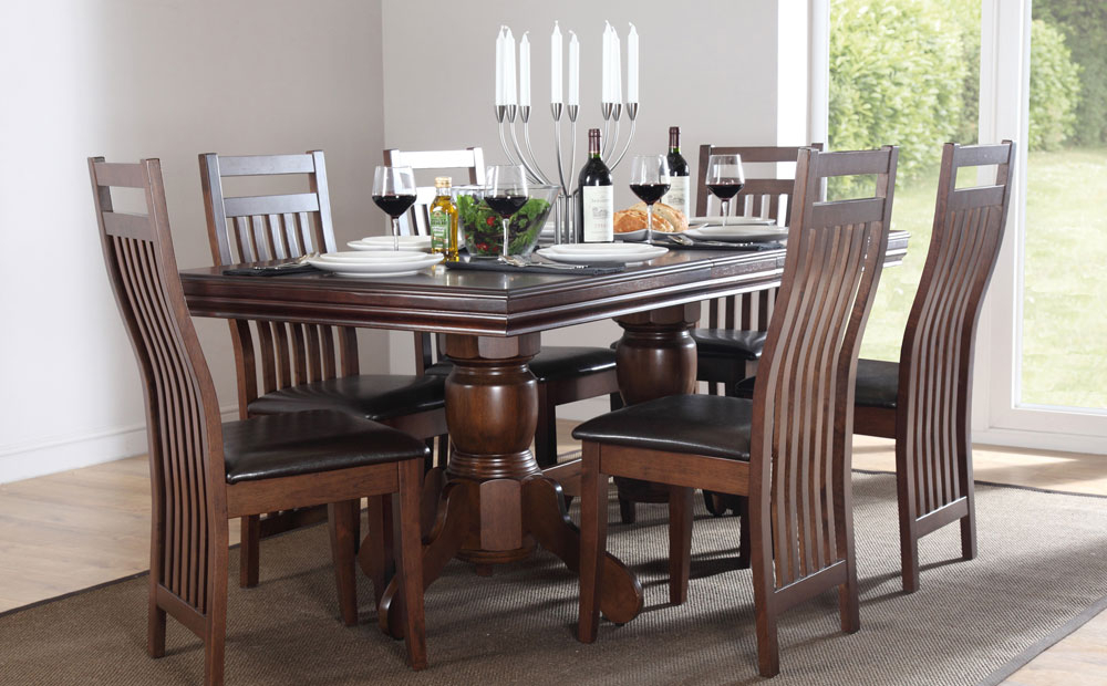 Current Extending Dining Table Chairs Extendable Dining Sets Vintage Dining Pertaining To Dark Wood Dining Tables And 6 Chairs (View 12 of 20)