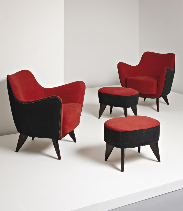 "Current Giulia Veronesi, Pair Of ""Perla"" Armchairs And Ottomans, C (View 3 of 20)"