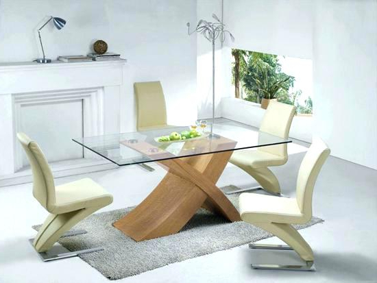 Current Glass Dining Tables With Oak Legs Inside Oak And Glass Dining Table Solid Oak Glass Top Dining Table Set With (View 3 of 20)